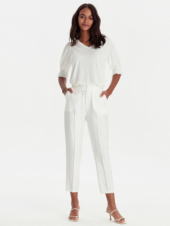 %13 Polyester %87 Viskoz Standart Normal Bel Pantolon Krep Düz Dar Paça Bilek Boy Bilek Boy Esnek Krep Pantolon