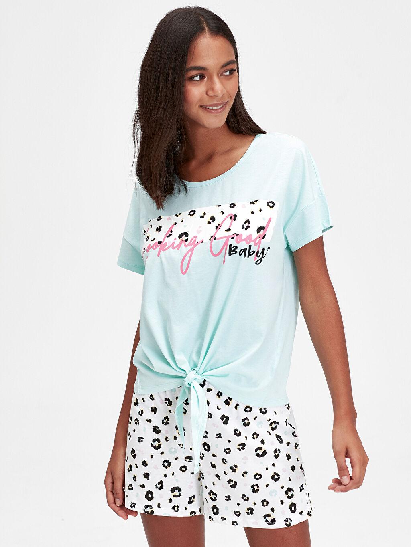 %100 Pamuk Süprem Standart Pijama Takım Baskılı Pamuklu Şortlu Pijama Takımı