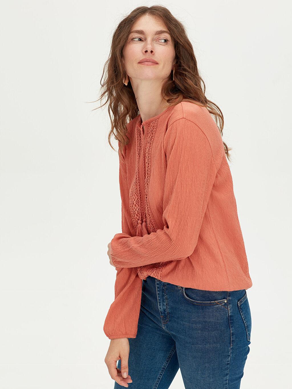 %96 Pamuk %3 Polyester %1 Elastan Standart Tişört Diğer Uzun Kol Dantel Detaylı Pamuklu Tişört