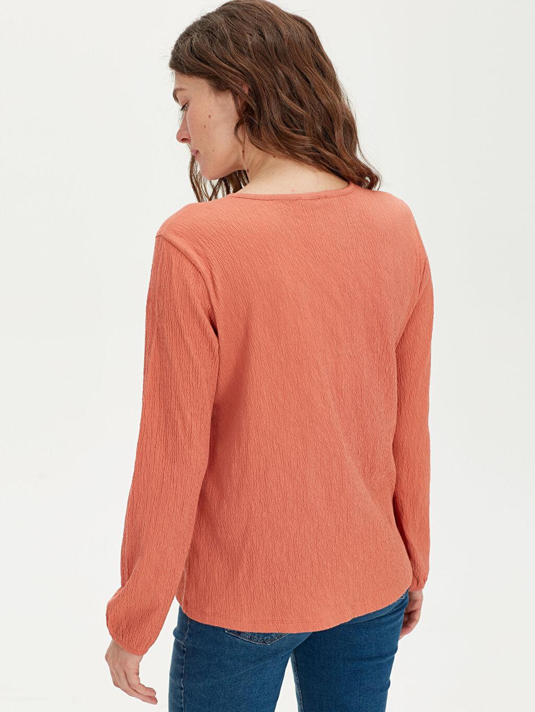 Kadın Dantel Detaylı Pamuklu Tişört