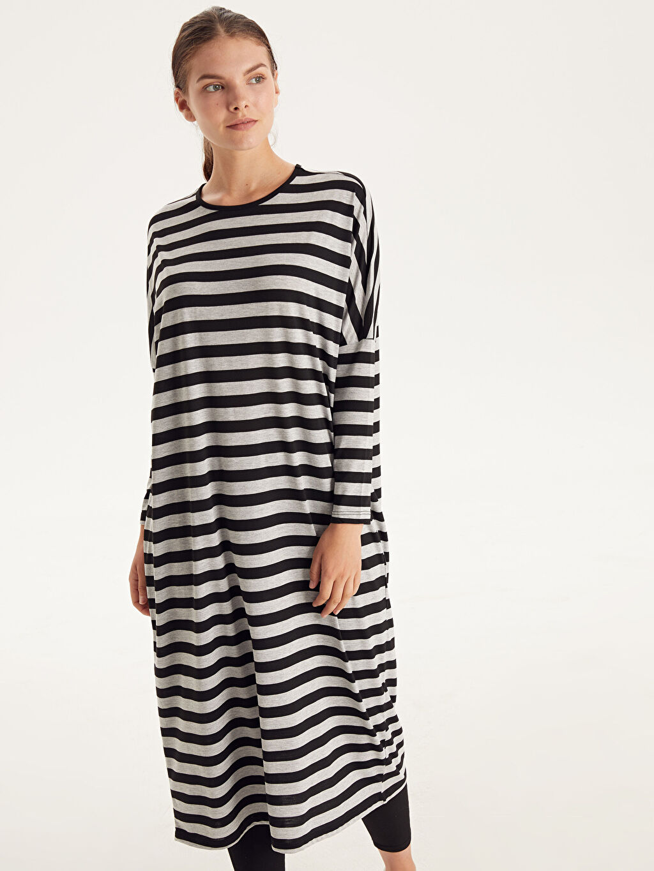 Uzun Çizgili Uzun Kol Çizgili Salaş Elbise