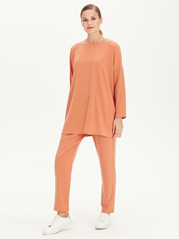 %100 Polyester Normal Bel Havuç Kesim Pantolon Beli Lastikli Havuç Pantolon