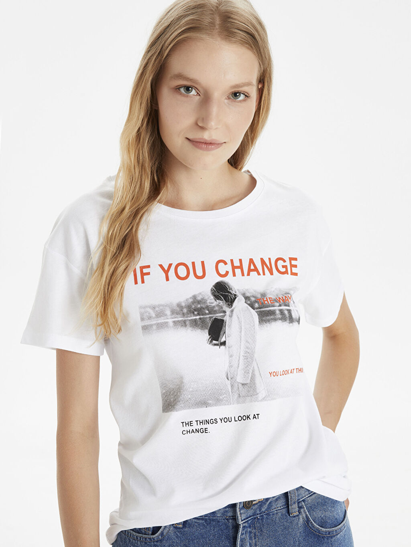 %100 Pamuk Standart Baskılı Yok Kısa Kol Tişört Bisiklet Yaka Slogan Baskılı Pamuklu Tişört