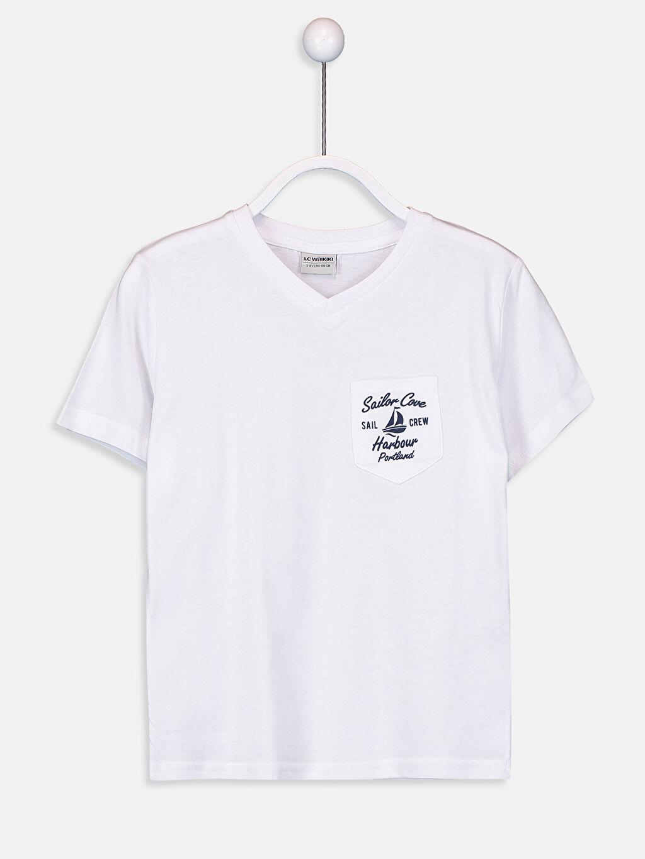 Beyaz Erkek Çocuk Pamuklu Basic Tişört 9S0313Z4 LC Waikiki