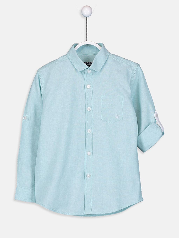 %75 Pamuk %25 Polyester Oxford Uzun Kol Düz Aksesuarsız Gömlek Standart Erkek Çocuk Uzun Kollu Oxford Gömlek