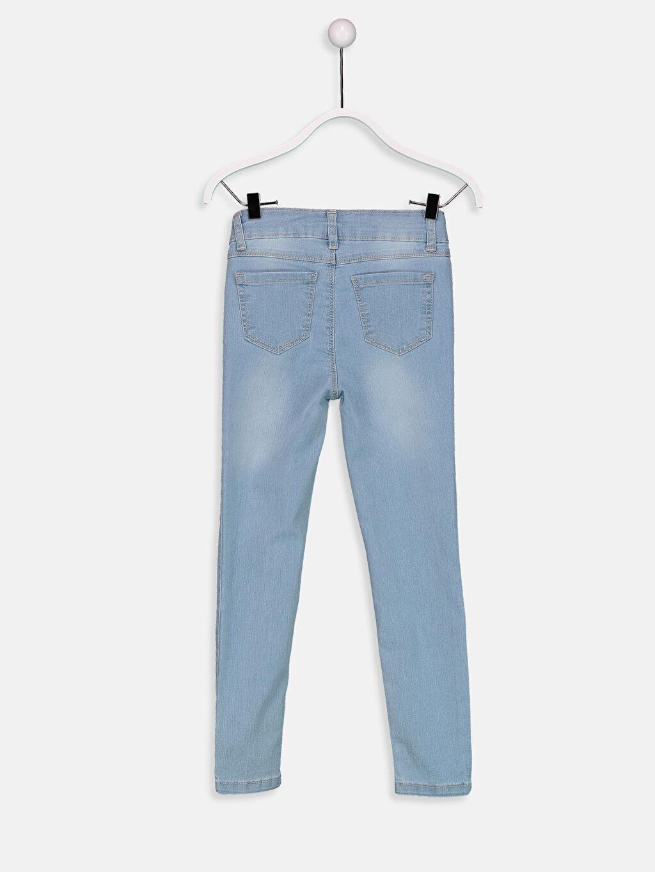 %80 Pamuk %18 Polyester %2 Elastan Aksesuarsız Normal Bel Astarsız Dar Jean Düz Dar Paça Kız Çocuk Skinny Jean Pantolon