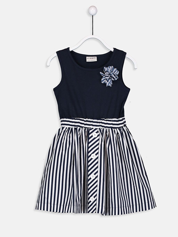 Lacivert Kız Çocuk Çizgili Örme Elbise 9S1054Z4 LC Waikiki