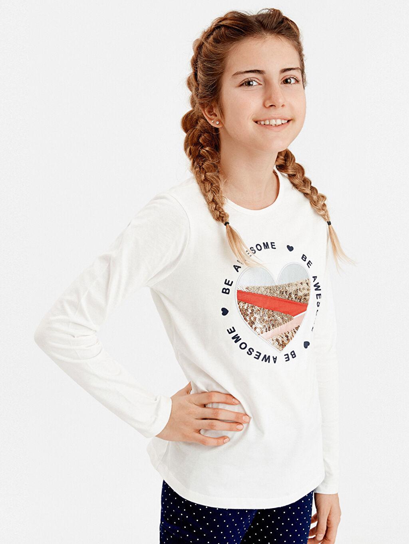Ekru Kız Çocuk Baskılı Pamuklu Tişört 9S1552Z4 LC Waikiki