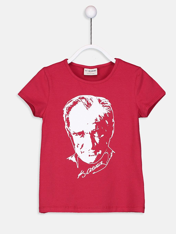 Kırmızı Kız Çocuk Atatürk Baskılı Pamuklu Tişört 9S2603Z4 LC Waikiki