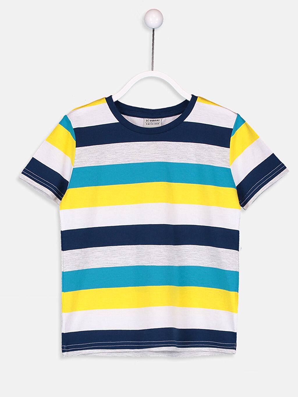 %99 Pamuk %1 Polyester Çizgili Süprem Tişört Bisiklet Yaka Standart Erkek Çocuk Çizgili Pamuklu Tişört