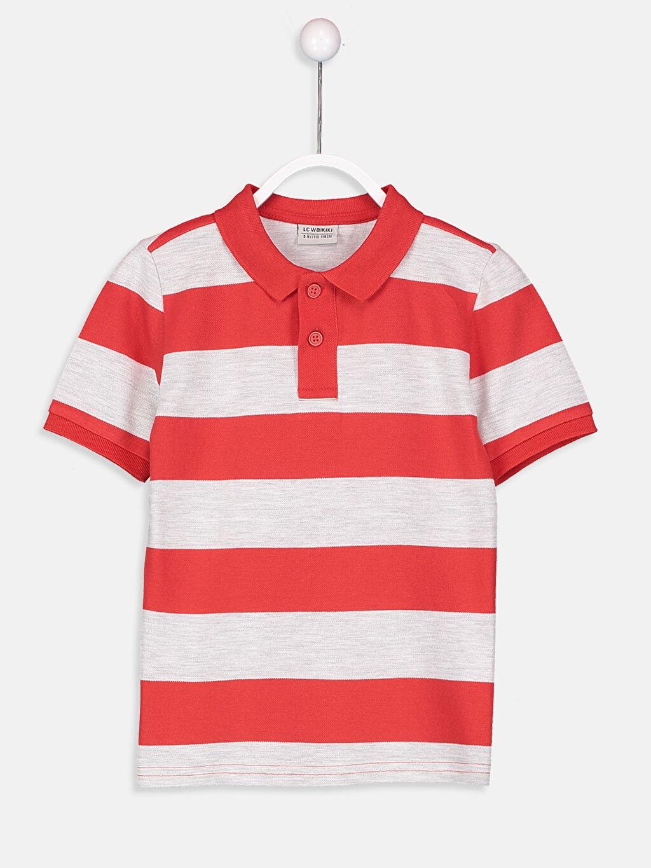 Kırmızı Erkek Çocuk Çizgili Basic Tişört 9S2720Z4 LC Waikiki