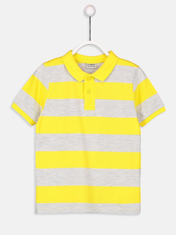 Sarı Erkek Çocuk Çizgili Basic Tişört 9S2720Z4 LC Waikiki