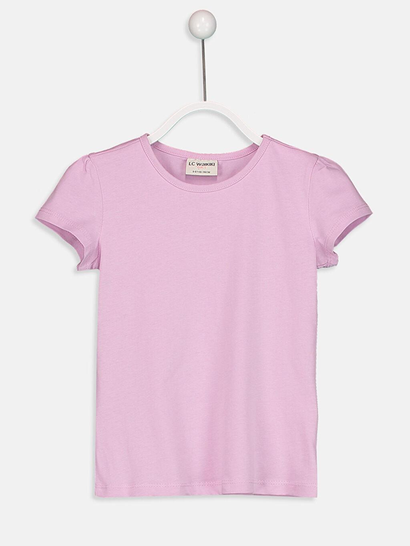 Lila Kız Çocuk Pamuklu Basic Tişört 9S2892Z4 LC Waikiki