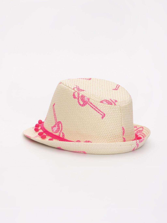 Kız Çocuk Kız Çocuk Desenli Hasır Şapka