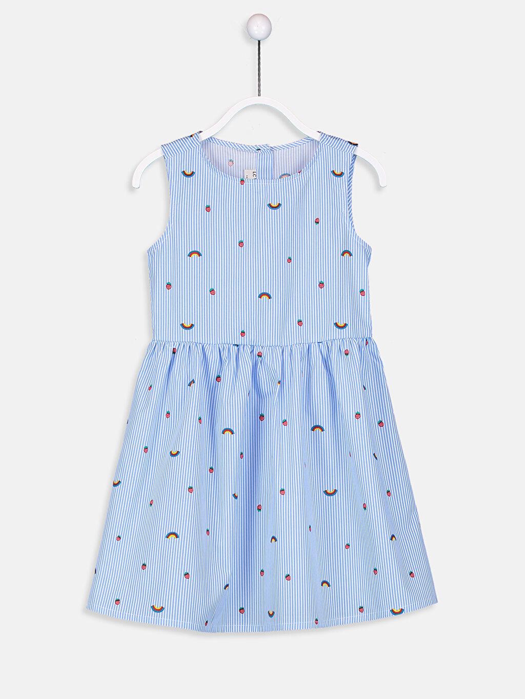 Mavi Kız Çocuk Desenli Poplin Elbise 9S4048Z4 LC Waikiki