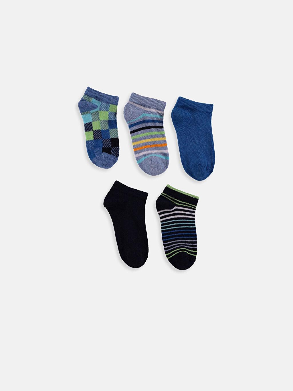 %85 Pamuk %13 Poliamid %2 Elastan Ekose Günlük Orta Kalınlık Patik Çorap Dikişli Erkek Çocuk Soket Çorap 5'li