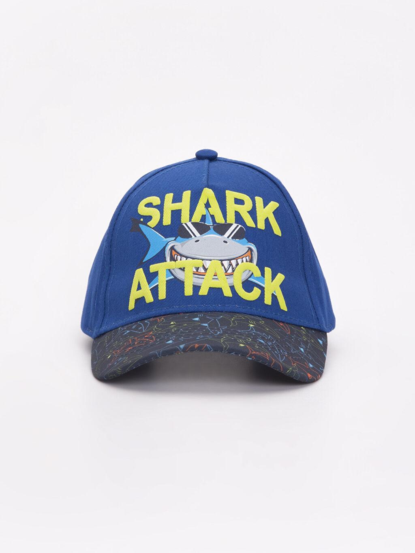 %100 Pamuk Şapka Erkek Çocuk Shark Attack Yazı Baskılı Şapka