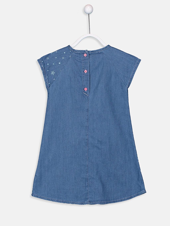 %100 Pamuk Mini Baskılı Kız Çocuk Nakışlı Jean Elbise