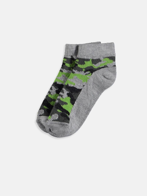 %64 Pamuk %12 Polyester %22 Poliamid %2 Elastan Baskılı Günlük Orta Kalınlık Patik Çorap Dikişli Erkek Çocuk Patik Çorap 5'li