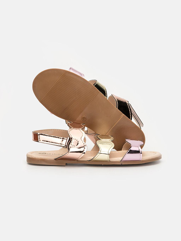 Metalik Kız Çocuk Parlak Bantlı Sandalet