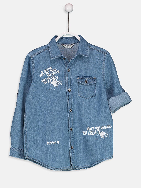 İndigo Uzun Kollu Jean Gömlek 9S7344Z4 LC Waikiki