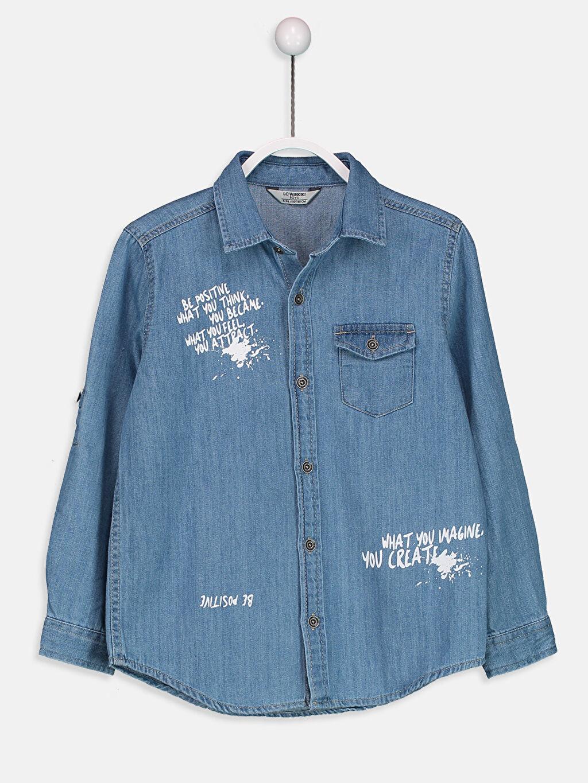 %100 Pamuk Jean Gömlek Aksesuarsız Uzun Kol Düz Standart Astarsız Uzun Kollu Jean Gömlek