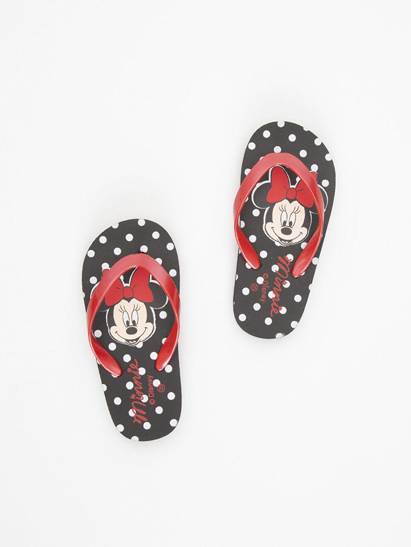 Siyah Kız Çocuk Minnie Mouse Baskılı Parmak Arası Terlik 9S7632Z4 LC Waikiki
