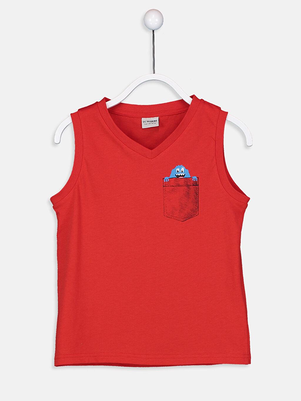 Kırmızı Erkek Çocuk V Yaka Basic Atlet 9S7988Z4 LC Waikiki