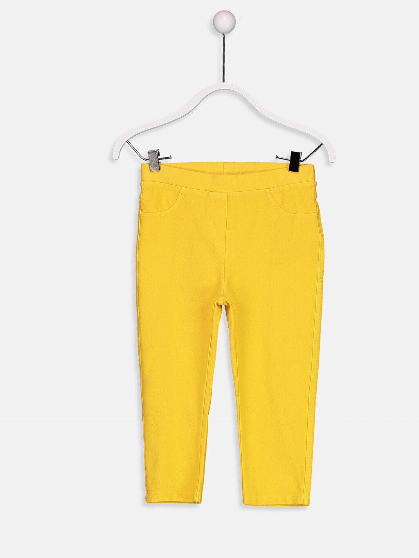 Sarı Kız Çocuk Düz 3/4 Boy Tayt 9S8194Z4 LC Waikiki