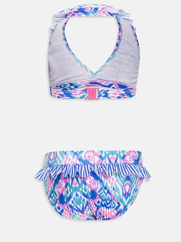 %85 Polyester %15 Elastan %100 Polyester  Kız Çocuk Desenli Fırfırlı Bikini