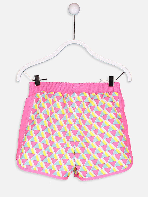 %100 Polyester Şort Kız Çocuk Baskılı Deniz Şortu