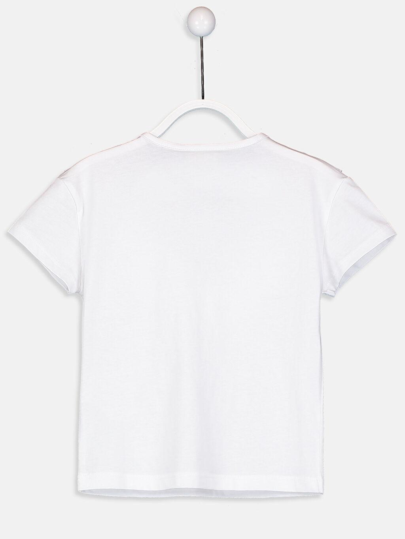 %100 Pamuk Düz Kısa Kol Bisiklet Yaka Standart Tişört Kız Çocuk Fırfırlı Pamuklu Tişört