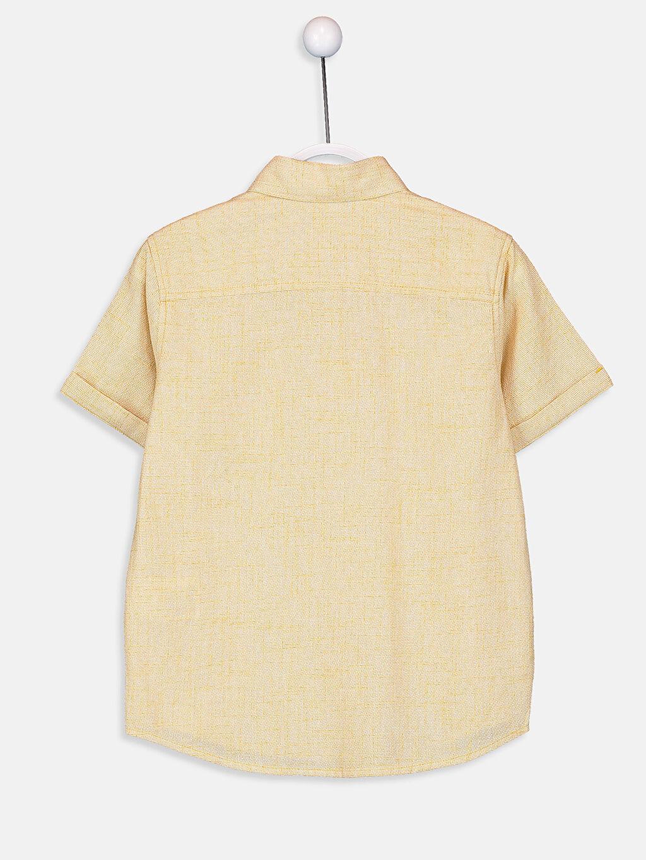 %100 Pamuk Kısa Kol Poplin Aksesuarsız Gömlek Standart Erkek Çocuk Kısa Kollu Poplin Gömlek