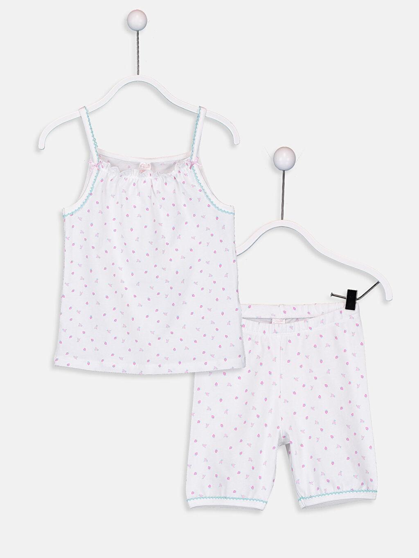Ekru Kız Çocuk Baskılı Pamuklu Pijama Takımı 9SI914Z4 LC Waikiki