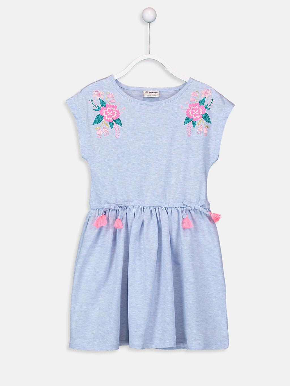 Mavi Kız Çocuk Çiçek Baskılı Örme Elbise 9SK187Z4 LC Waikiki