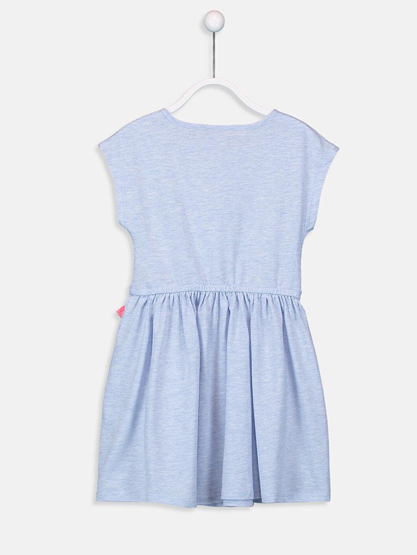 %94 Pamuk %6 Polyester Elbise Baskılı Bisiklet Yaka Süprem Diz Üstü Kız Çocuk Çiçek Baskılı Örme Elbise