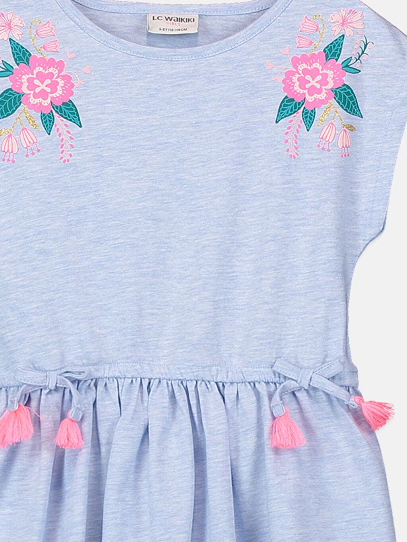 Kız Çocuk Kız Çocuk Çiçek Baskılı Örme Elbise