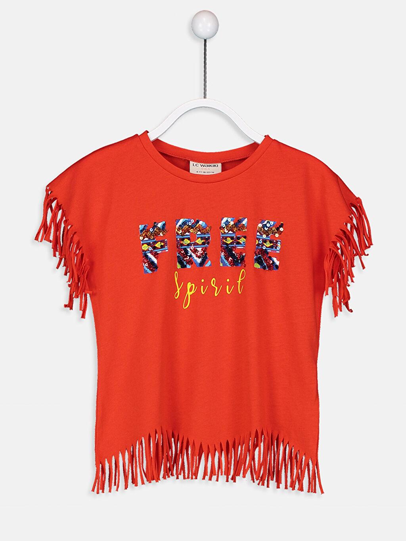 Kırmızı Kız Çocuk Pul İşlemeli Pamuklu Tişört 9SL308Z4 LC Waikiki