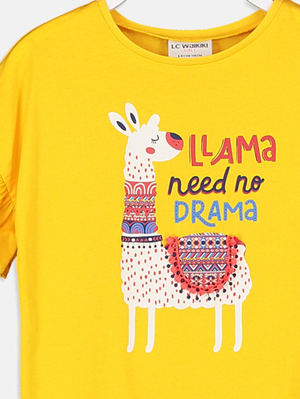 Kız Çocuk Kız Çocuk Kolları Fırfırlı Pamuklu Tişört
