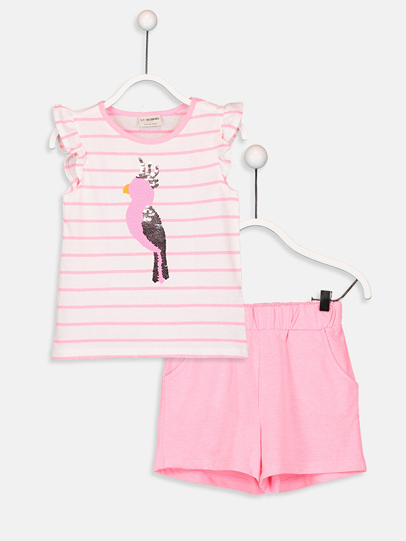 Beyaz Kız Çocuk Pamuklu Tişört ve Şort 9SM188Z4 LC Waikiki