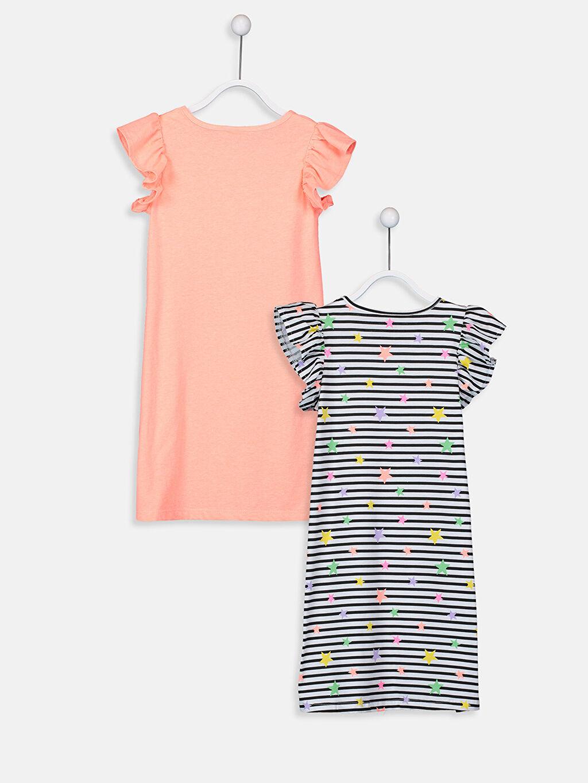 %100 Pamuk Mini Baskılı Kız Çocuk Örme Elbise 2'li