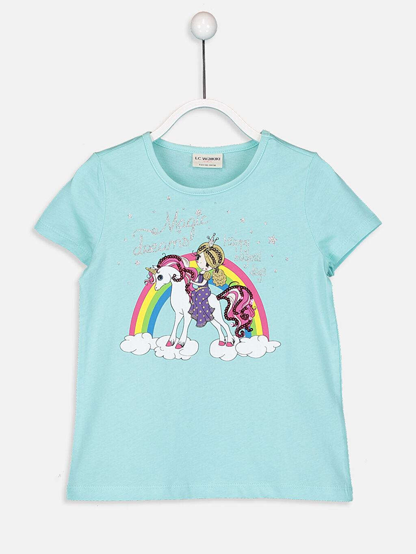 Turkuaz Kız Çocuk Baskılı Pamuklu Tişört 9SM971Z4 LC Waikiki