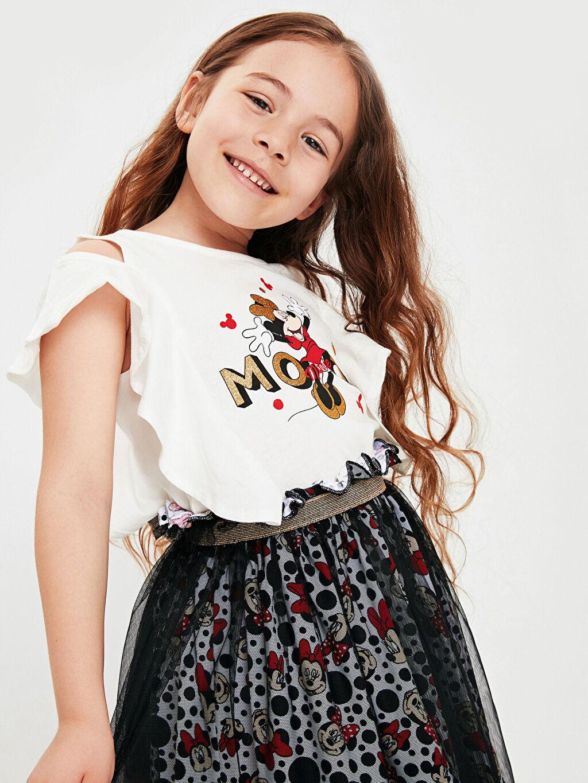 LC Waikiki Ekru Kız Çocuk Minnie Mouse Fırfırlı Tişört