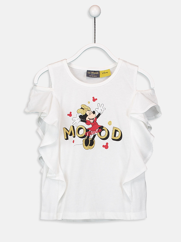 Ekru Kız Çocuk Minnie Mouse Fırfırlı Tişört 9SN208Z4 LC Waikiki