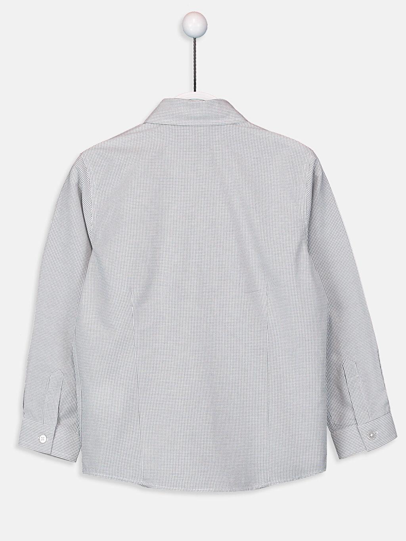 %58 Pamuk %42 Polyester Ekoseli Standart Uzun Kol Erkek Çocuk Ekose Poplin Gömlek