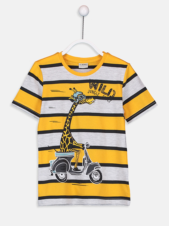 Sarı Erkek Çocuk Baskılı Pamuklu Tişört 9SQ081Z4 LC Waikiki