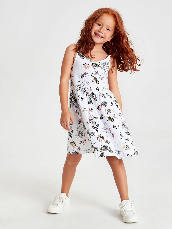 %100 Pamuk Kız Çocuk Baskılı Pamuklu Elbise