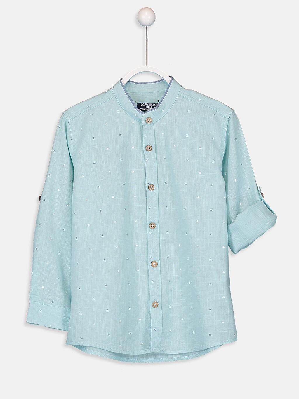 Turkuaz Aile Koleksiyonu Erkek Çocuk Baskılı Poplin Gömlek 9SQ586Z4 LC Waikiki