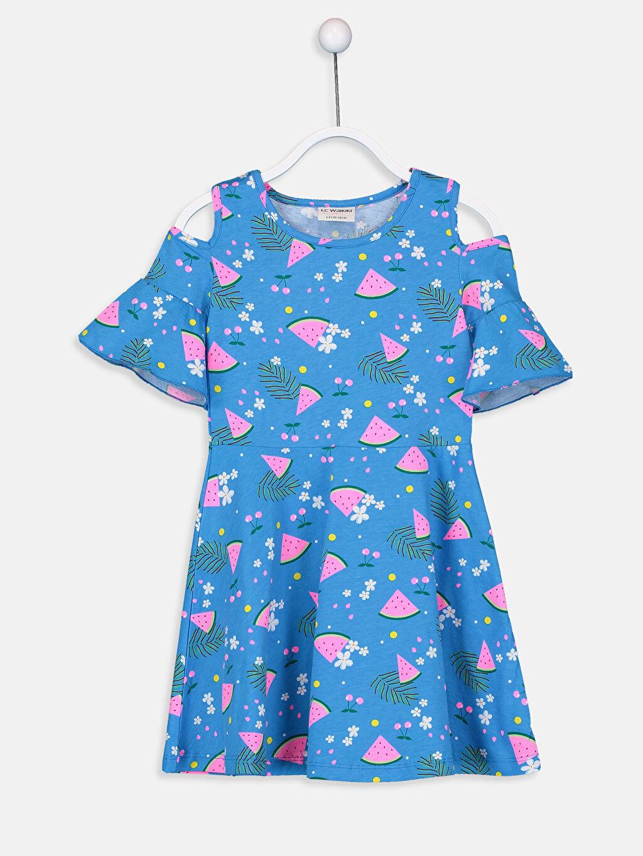 Mavi Kız Çocuk Omuzu Açık Pamuklu Elbise 9SR414Z4 LC Waikiki