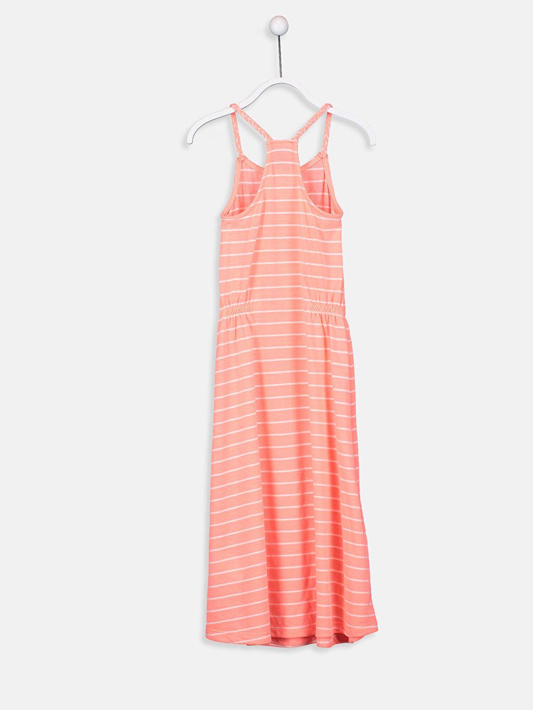 %15 Pamuk %85 Polyester Uzun Çizgili Kız Çocuk Baskılı Elbise